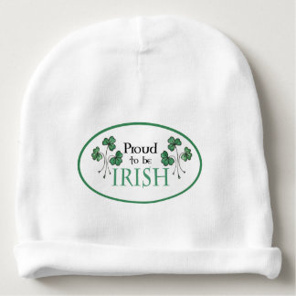 Green Shamrocks Proud to be Irish Baby Beanie