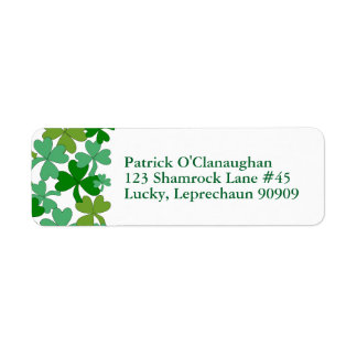 Green Shamrocks Return Address Labels Personalised