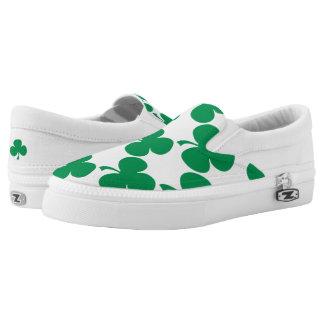 Green Shamrocks Slip-On Shoes
