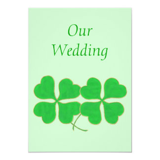 Green Shamrocks with with gold dots Wedding Invite