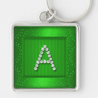 Green Shimmer and Sparkle with Monogram Key Chain