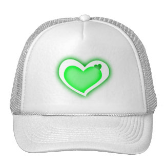green shiny hearts cap