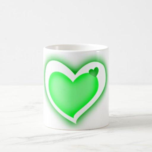green shiny hearts mug