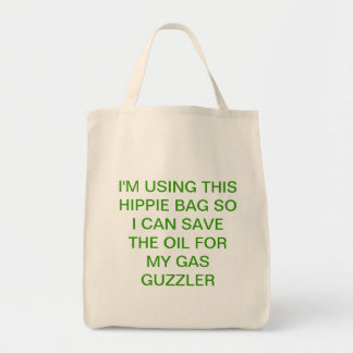 Green shopping with humor grocery tote bag