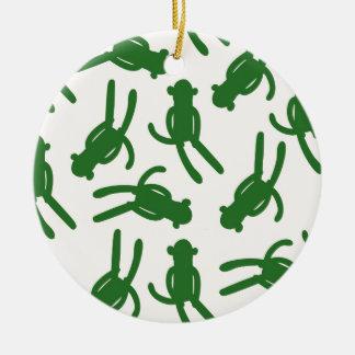 Green Silhouette Sock Monkey Round Ceramic Decoration