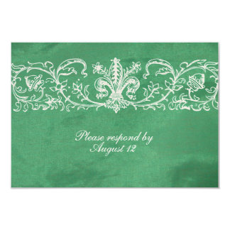 Green Silk RSVP with envelopes 9 Cm X 13 Cm Invitation Card