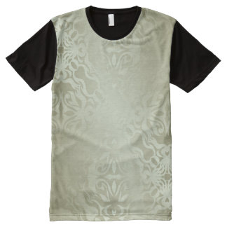 green,silk,silver,damask,floral,pattern,chic,shini All-Over print T-Shirt