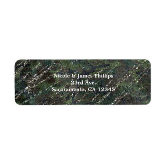 Green & Silver Army Camo Sparkle Elegant Party Return Address Label