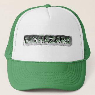 Green & silver biohazard toxic warning sign symbol trucker hat