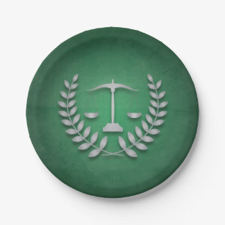 Green+Silver Justice Scales Legal/Law Graduation 7 Inch Paper Plate