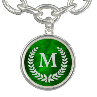 Green Silver Laurel Wreath Monogram