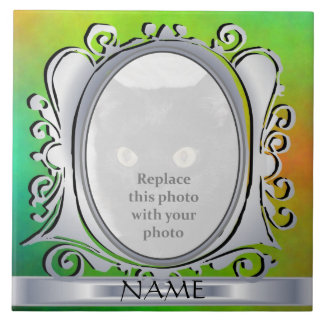 Green Silver Oval Photo Frame with Name Tile