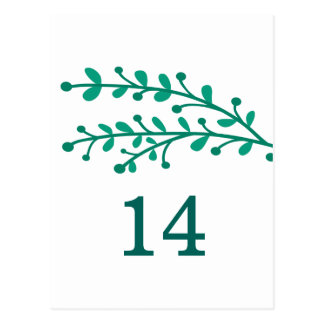 Green Simple Foliage Table Number Postcard