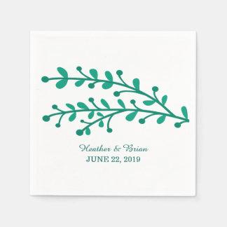 Green Simple Foliage Wedding Disposable Serviettes