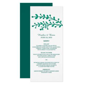 Green Simple Foliage Wedding Menu Card