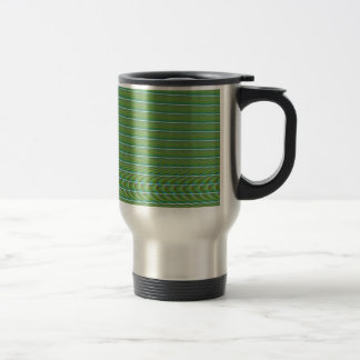 Green Simple Fractal Lines with Ripples Travel Mug