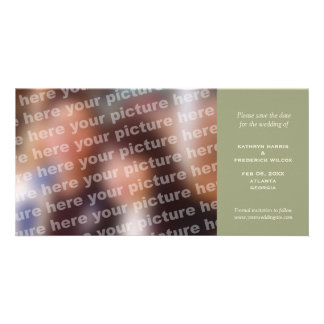 Green simple wedding save the date announcement custom photo card