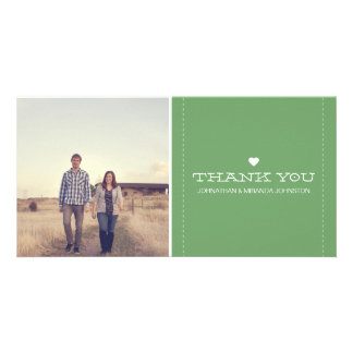 Green Simply Chic Photo Wedding Thank You Cards Photo Greeting Card