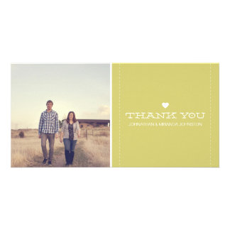 Green Simply Chic Photo Wedding Thank You Cards Custom Photo Card