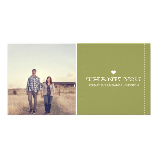 Green Simply Chic Photo Wedding Thank You Cards Photo Cards
