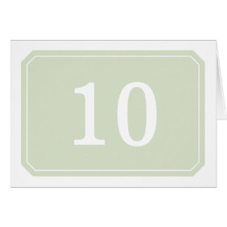 Green Simply Elegant Table Number Card