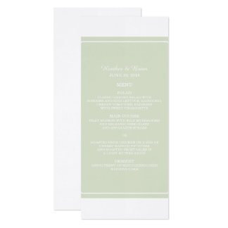 Green Simply Elegant Wedding Menu Card