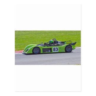 Green single seater race car post card