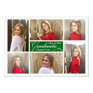 Green Six Photo Collage Custom Graduation Card