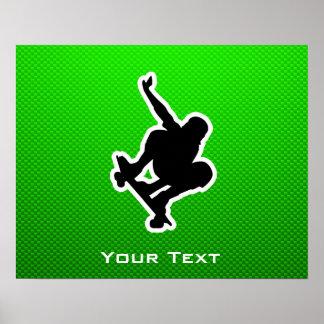 Green Skateboarding Poster