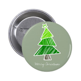 Green Sketchy Christmas Tree Button