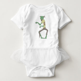 Green Skin Creepy Zombie With Rotting Flesh Baby Bodysuit