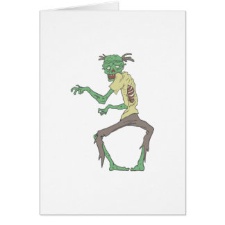 Green Skin Creepy Zombie With Rotting Flesh Card