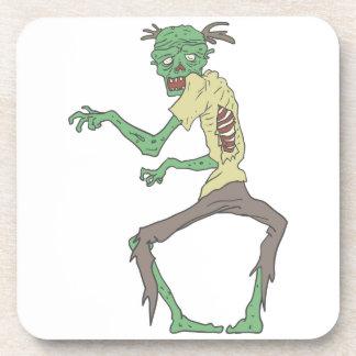 Green Skin Creepy Zombie With Rotting Flesh Coaster