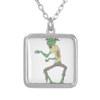 Green Skin Creepy Zombie With Rotting Flesh Silver Plated Necklace