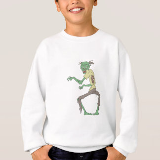 Green Skin Creepy Zombie With Rotting Flesh Sweatshirt