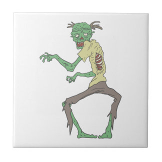 Green Skin Creepy Zombie With Rotting Flesh Tile