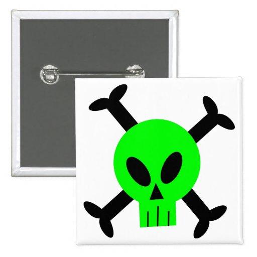 Green Skull And Crossbones Button