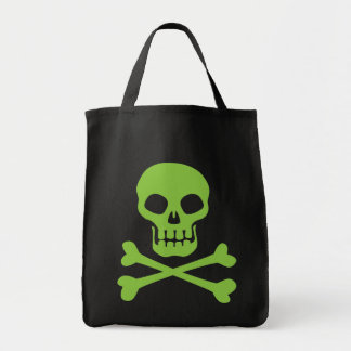 Green Skull and Crossbones Grocery Tote Bag
