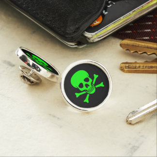 Green Skull and Crossbones Lapel Pin