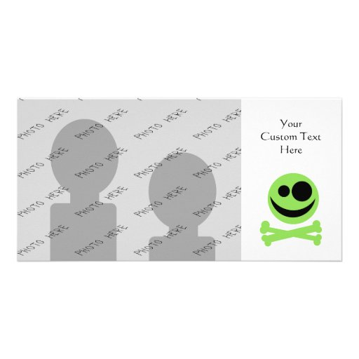 Green Skull and Crossbones. Personalized Photo Card