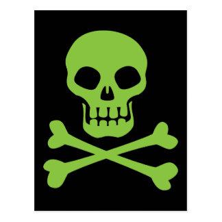 Green Skull and Crossbones Postcard