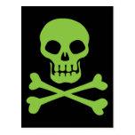 Green Skull and Crossbones Postcards