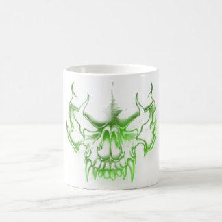 green skull head graffiti art mug
