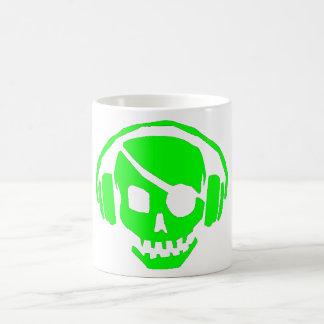 green skull head with headphones mug