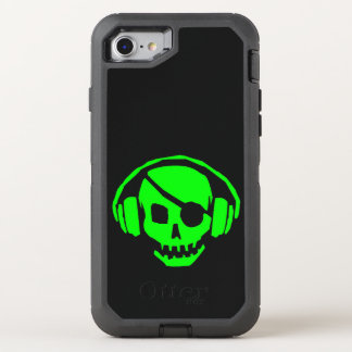 green skull head with headset OtterBox defender iPhone 7 case