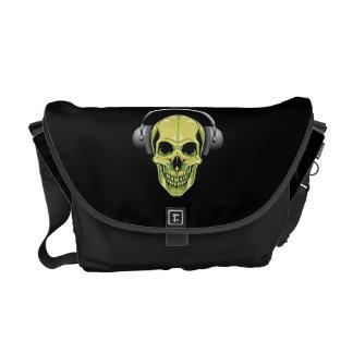 Green Skull with Headphones Messenger Bag