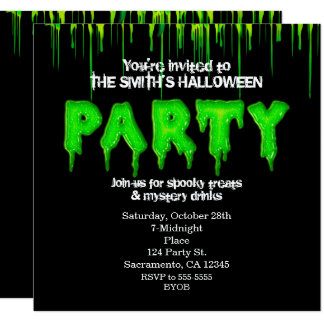 Green Slime Fun Halloween Party Invitations