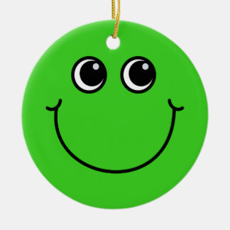 Green Smiley Face Ceramic Ornament