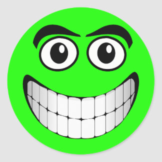 Green Smiley Face Round Sticker