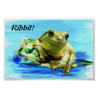 Green Smiling Frog Poster